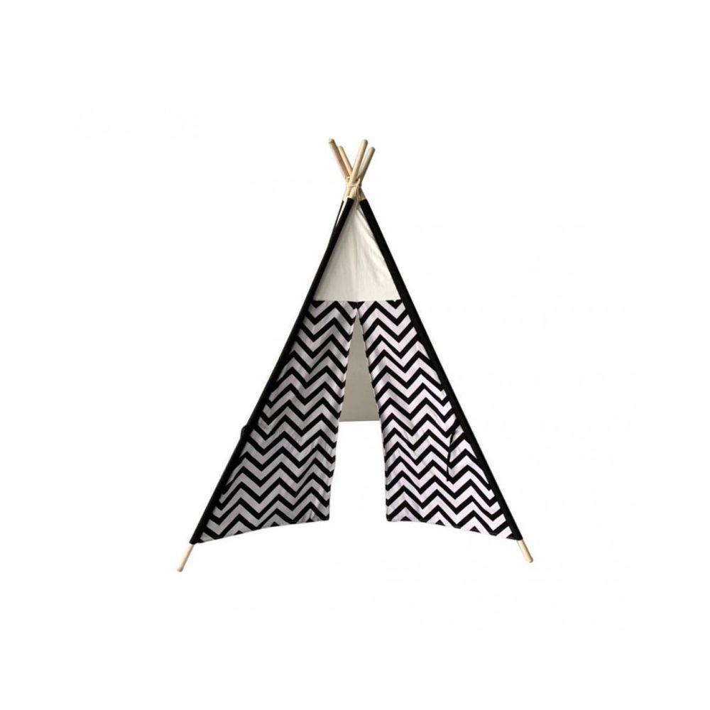 Mobili Rebecca Tente Indienne Jouet Noir Blanc Coton Bois Moderne Enfants