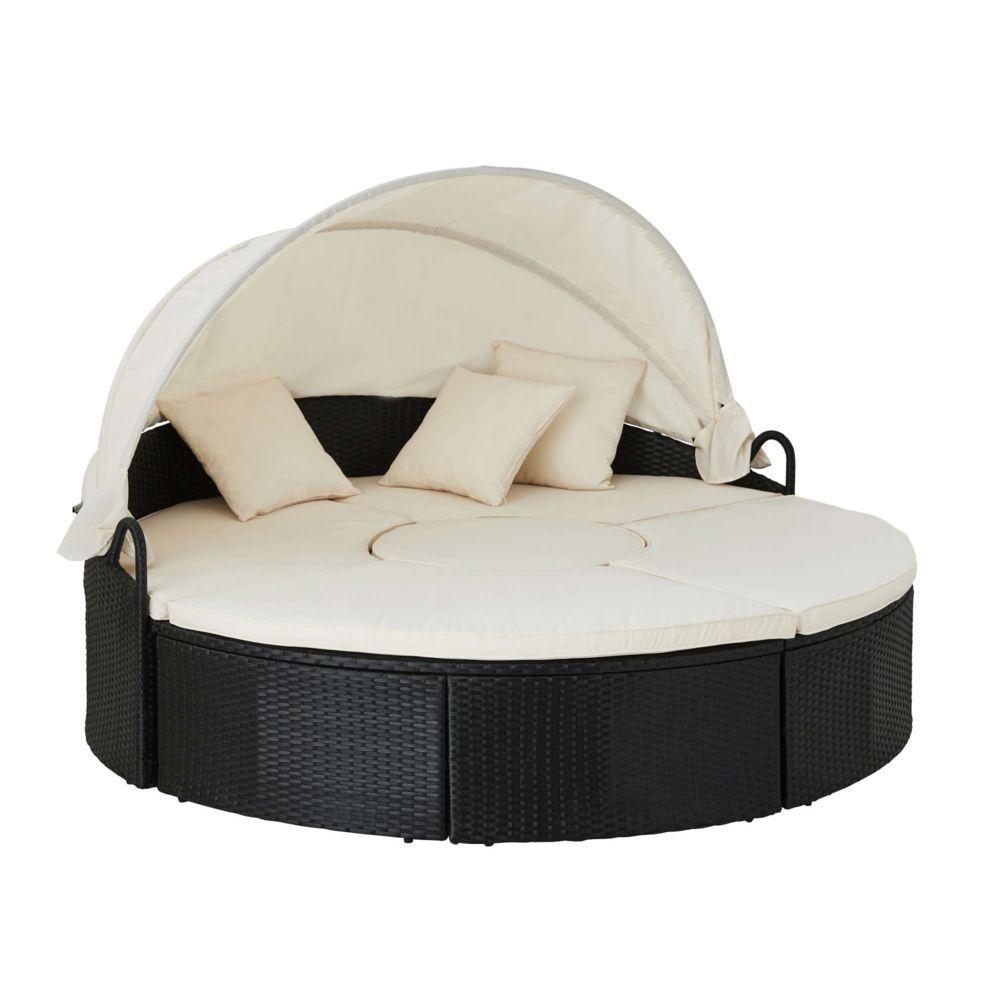 Bestmobilier Calvi - Salon de jardin rond - en résine tressée - bain de soleil avec auvent - Noir avec coussins beiges Couleur - Noir