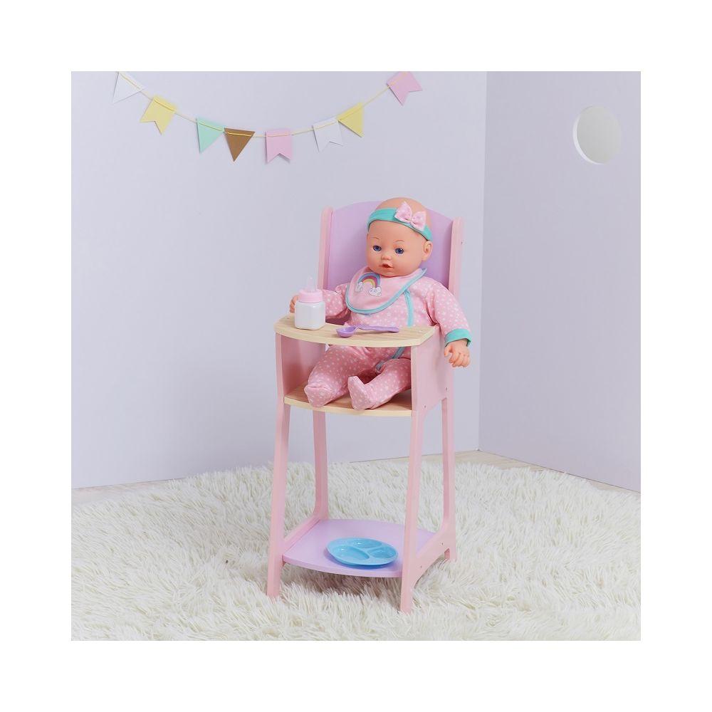 Olivia'S Little World Chaise haute en bois pour poupée poupon de 40 cm jouet enfant rose violet Olivia's Little World TD-12878A
