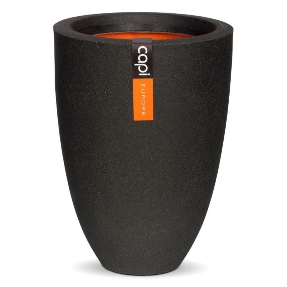 Capi Capi Pot à fleurs Urban Smooth Élégant Bas 36x47 cm Noir KBL782