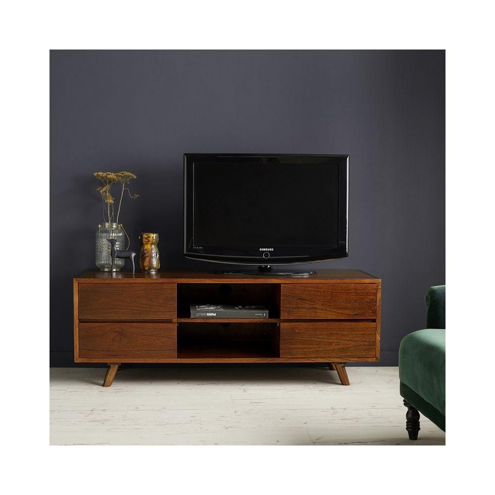 Bois Dessus Bois Dessous Meuble TV en bois finition noyer 4 tiroirs