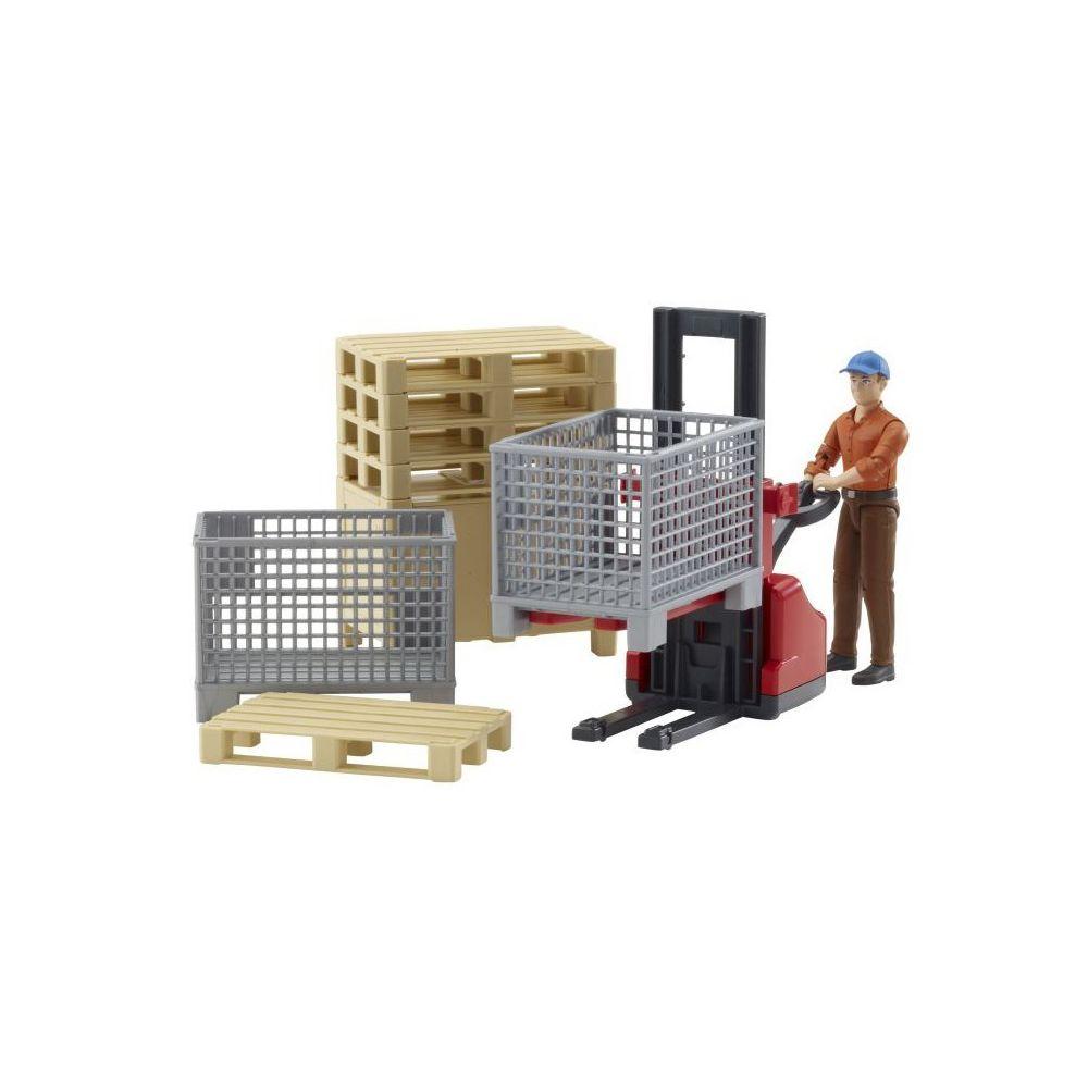 Bruder BRUDER - Set de logistique Bworld avec figurine