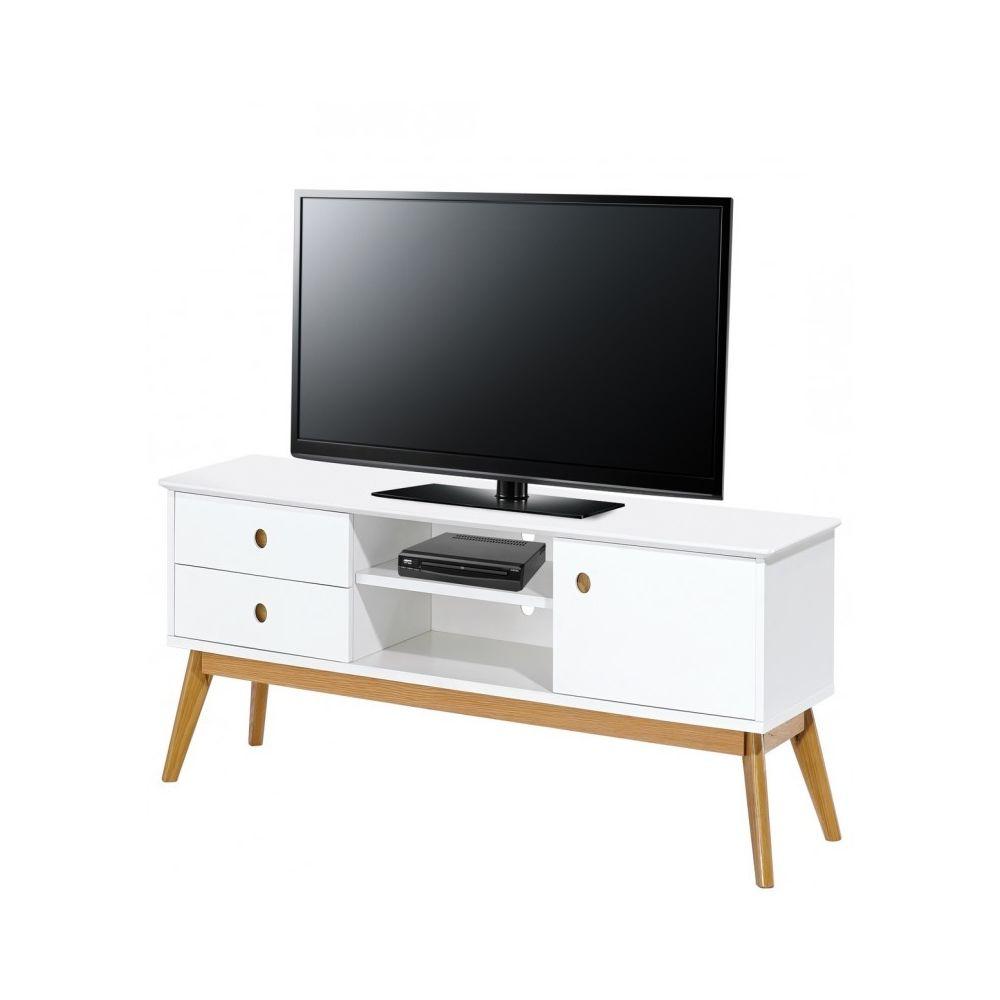 Beaux Meubles Pas Chers Meuble TV Blanc 150 cm Pieds Chêne