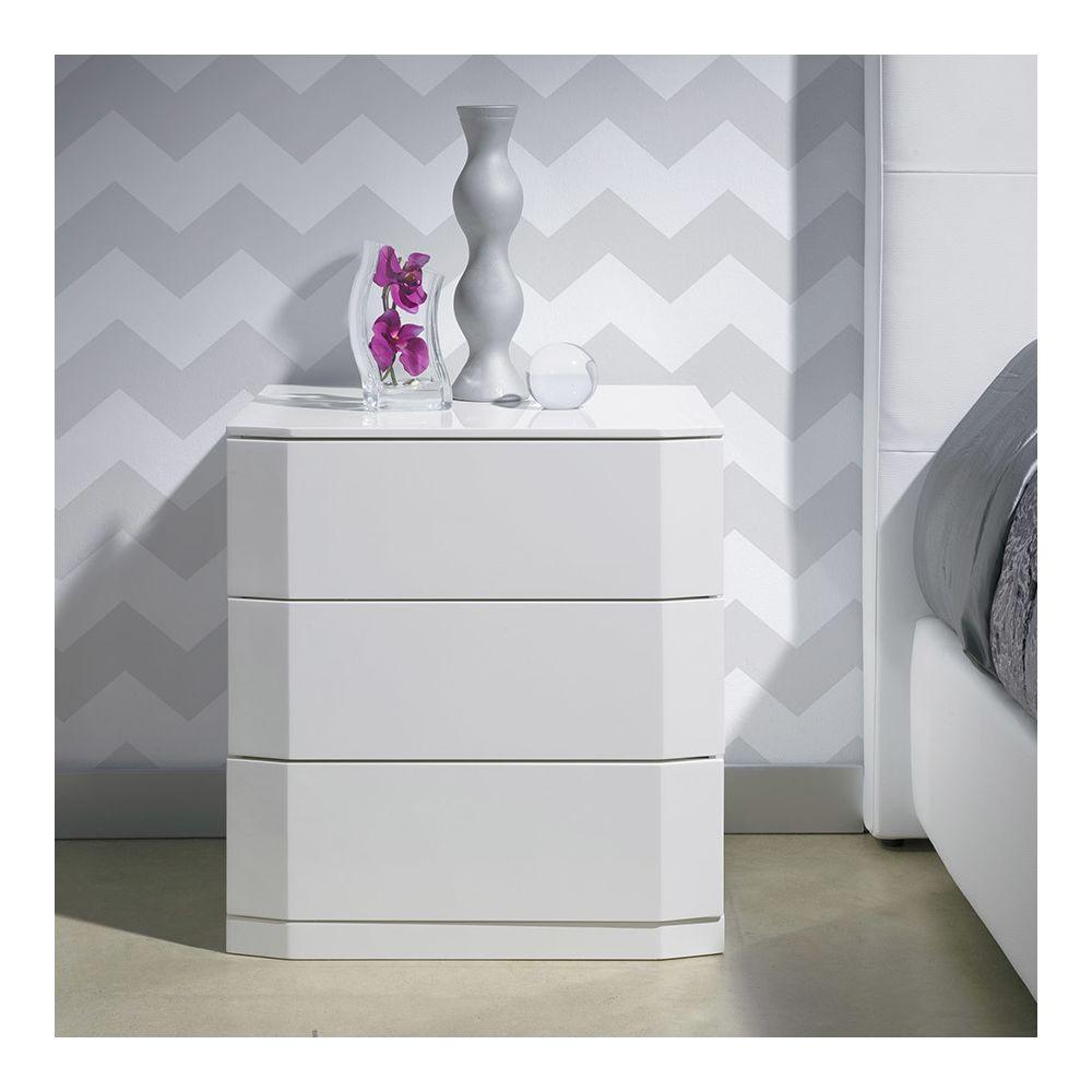 Nouvomeuble Chevet 3 tiroirs laqué blanc TATIMO