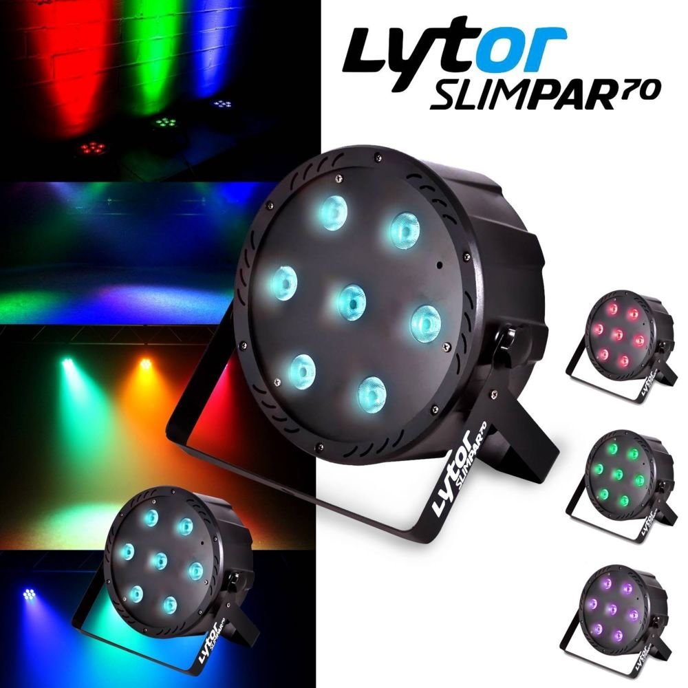 Lytor PACK Projecteurs SLIMPAR70 ultra plat 7 LEDs (4en1) x 10W RVB/UV/DMX LytOr