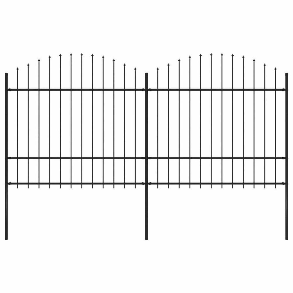 Vidaxl vidaXL Clôture de Jardin à Dessus en Lance (1,5-1,75)x3,4 m Acier Panneau