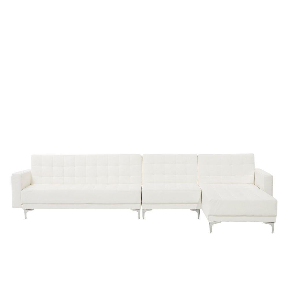 Beliani Beliani Grand canapé d'angle à gauche en simili-cuir blanc ABERDEEN - blanc