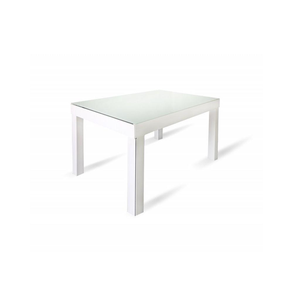 Meubletmoi Table de repas extensible 120/340 cm plateau verre blanc - BANQUET