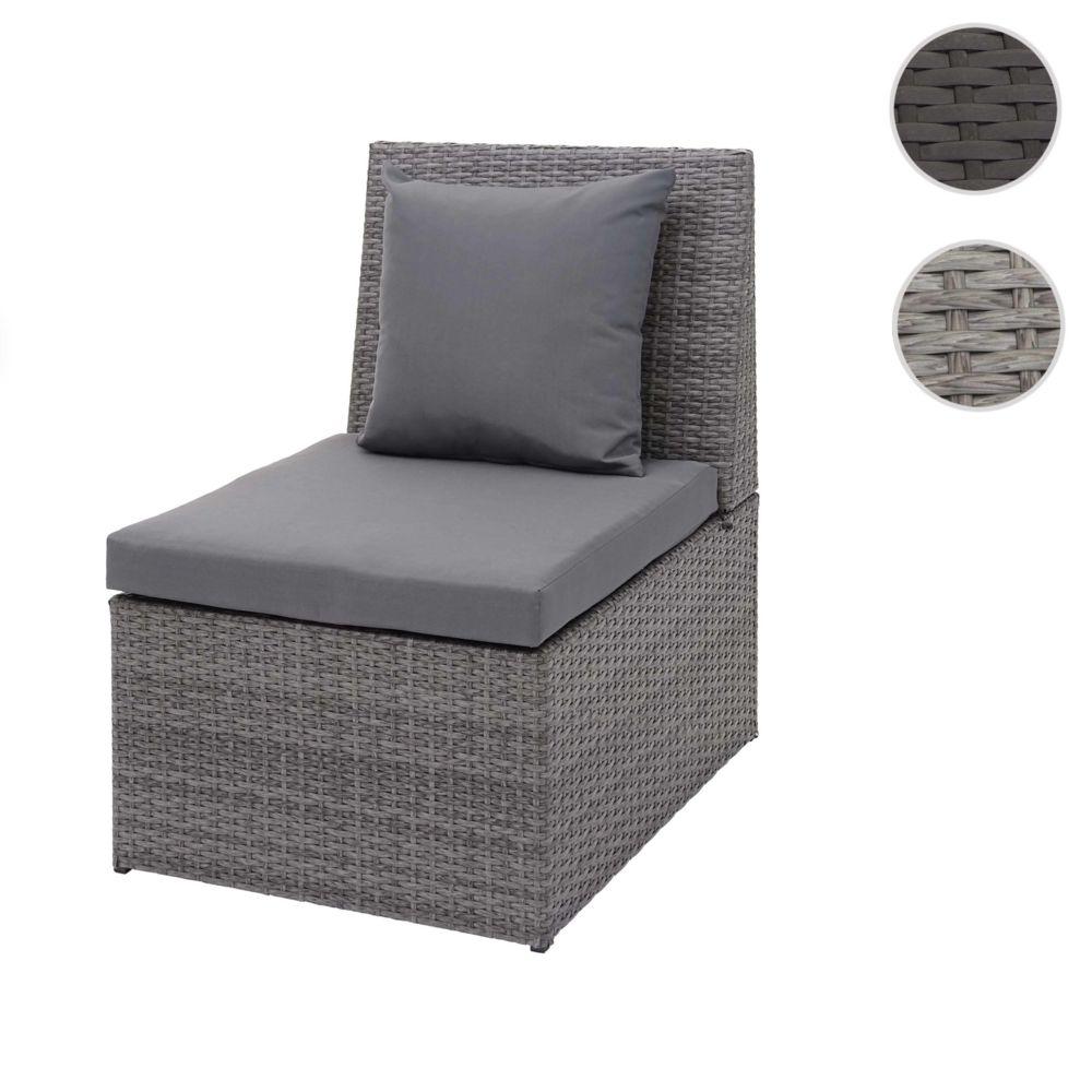 Mendler Fauteuil en polyrotin HWC-G16, chaise de jardin, gastronomie ~ gris, coussin gris foncé