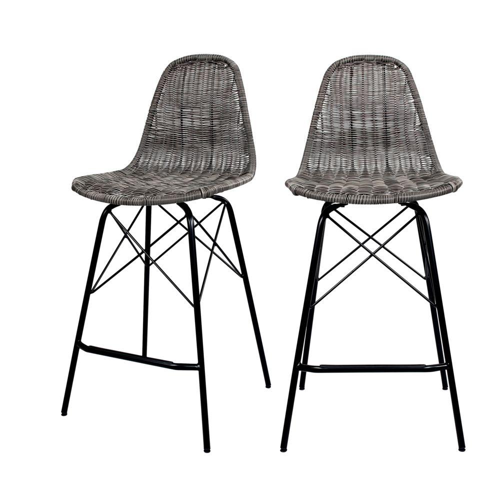 Rendez Vous Deco Chaise de bar mi-hauteur Tiptur en résine tressée grise 63 cm (lot de 2)