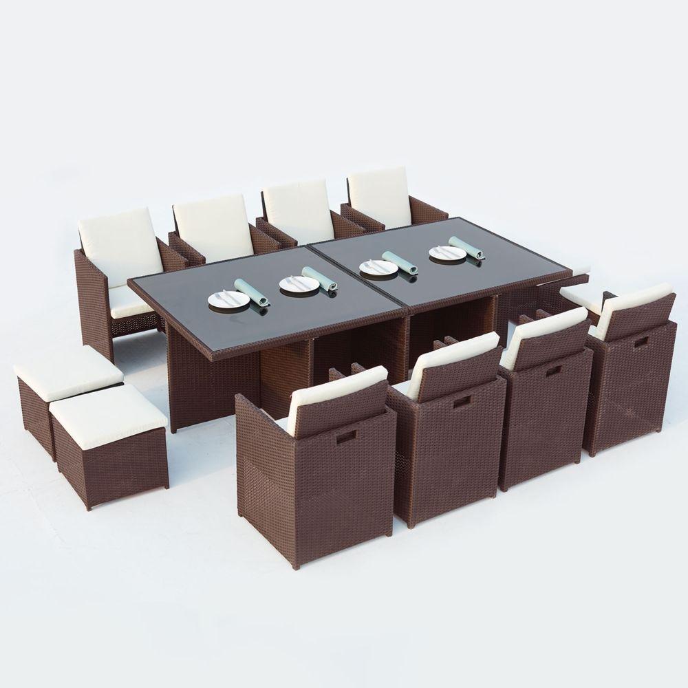 Concept Usine Monaco 12 : salon de jardin encastrable 12 places en résine tressée marron/blanc