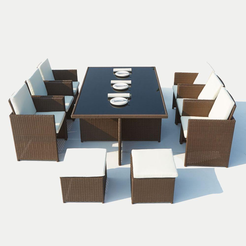 Concept Usine Monaco 10 : salon de jardin encastrable 10 places en résine tressée marron/blanc