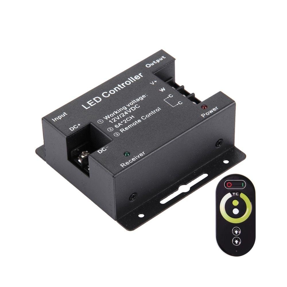 Wewoo SX-031RF Double Channels Touch Series noir Télécommande sans fil LED, DC 12-24V