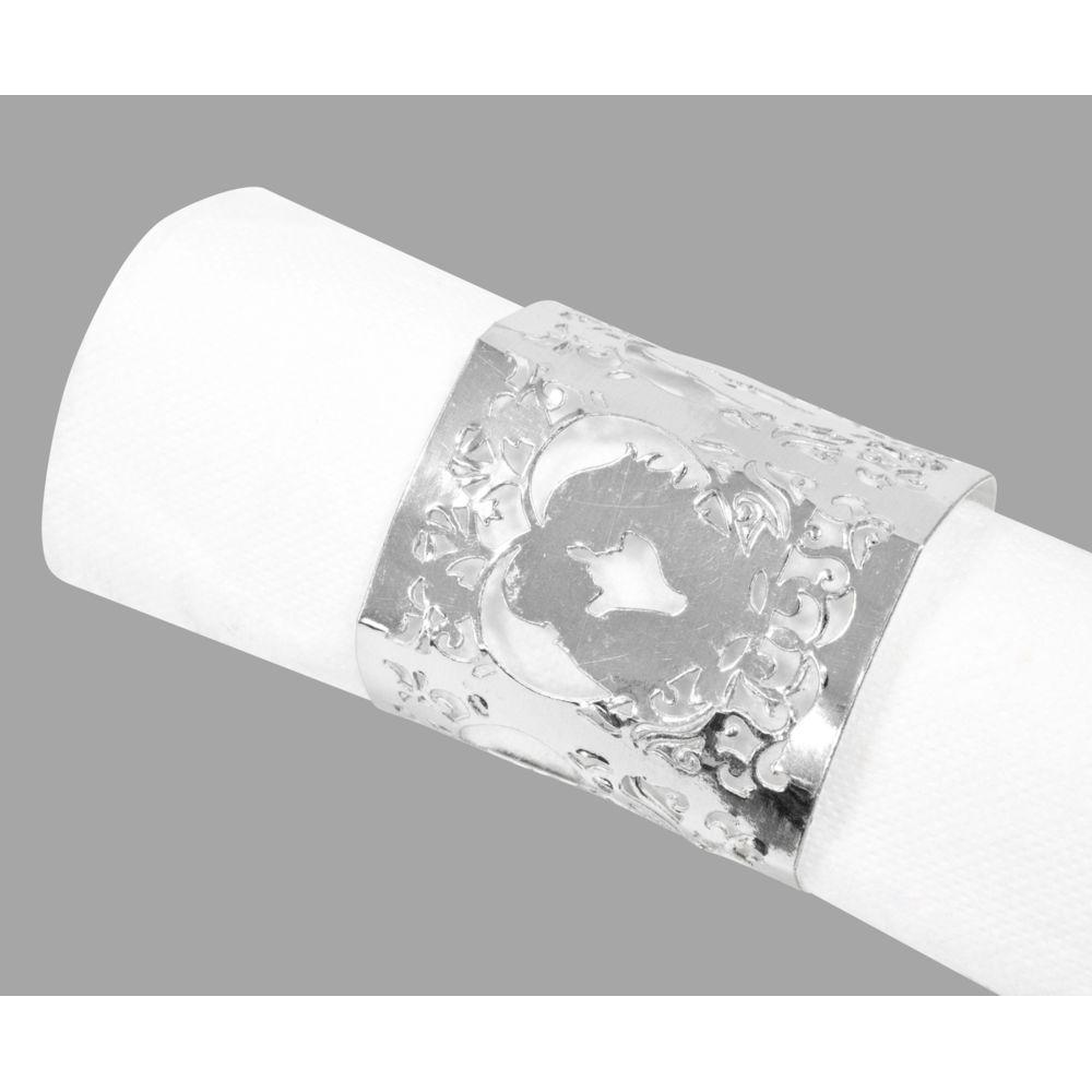 Visiodirect 10 Lots de 6 Décors de serviette Mariage Argenté - 17,5 x 5,7 cm