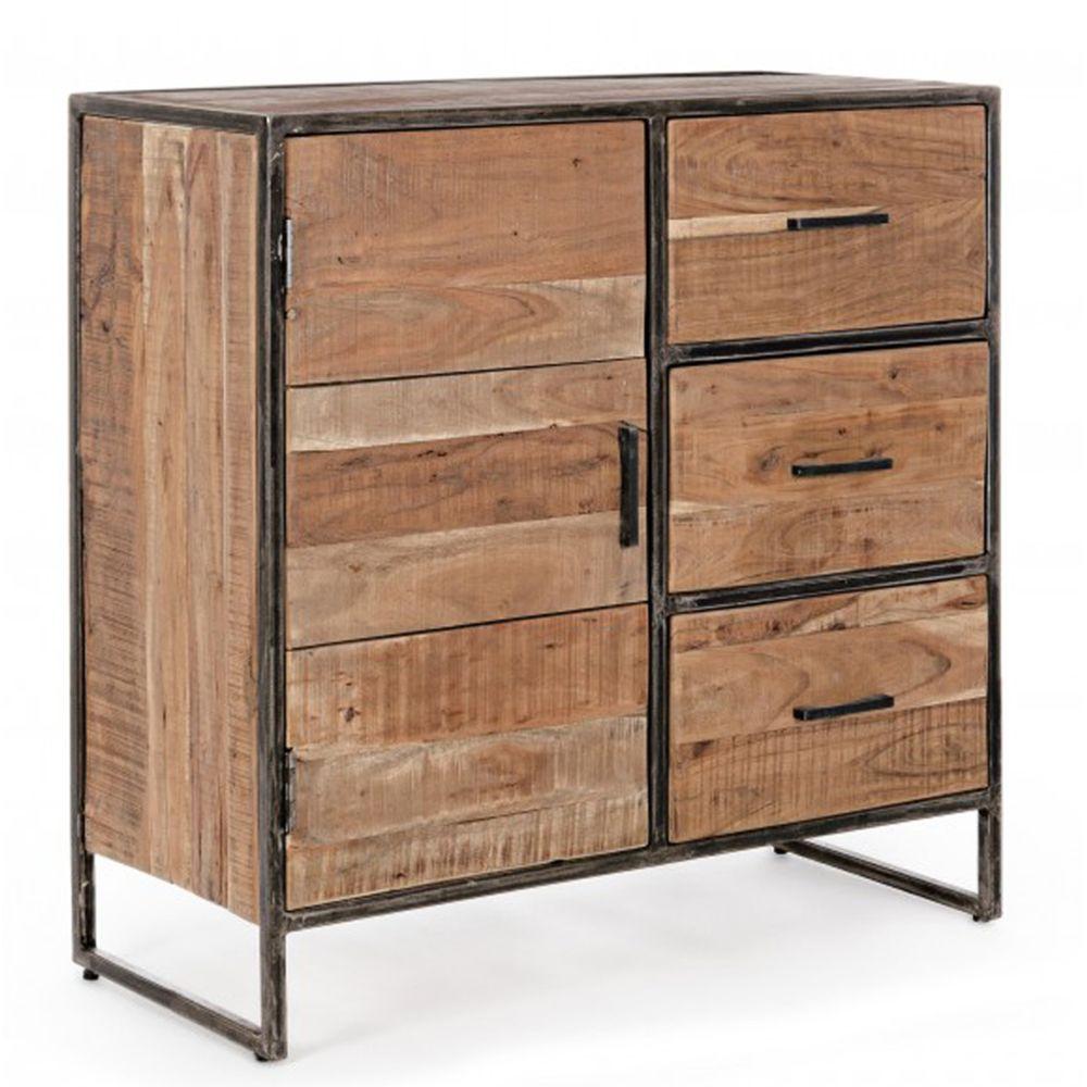 Pegane Buffet en bois avec 1 porte et 3 tiroirs - Dim : L 90 x P 40 x H 90 cm -PEGANE-