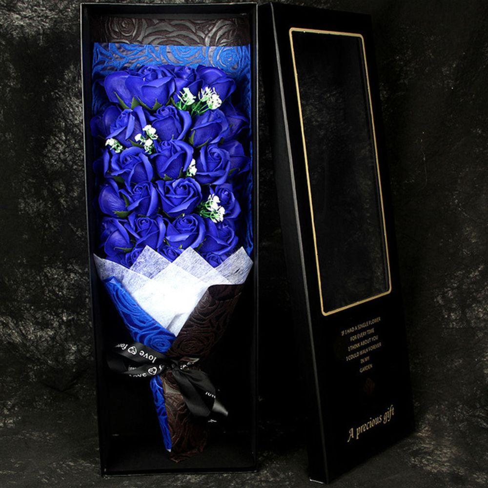 Generic Saint Valentin bricolage savon fleur cadeau rose boîte mariage chambre cadeau de vacances - Bleu