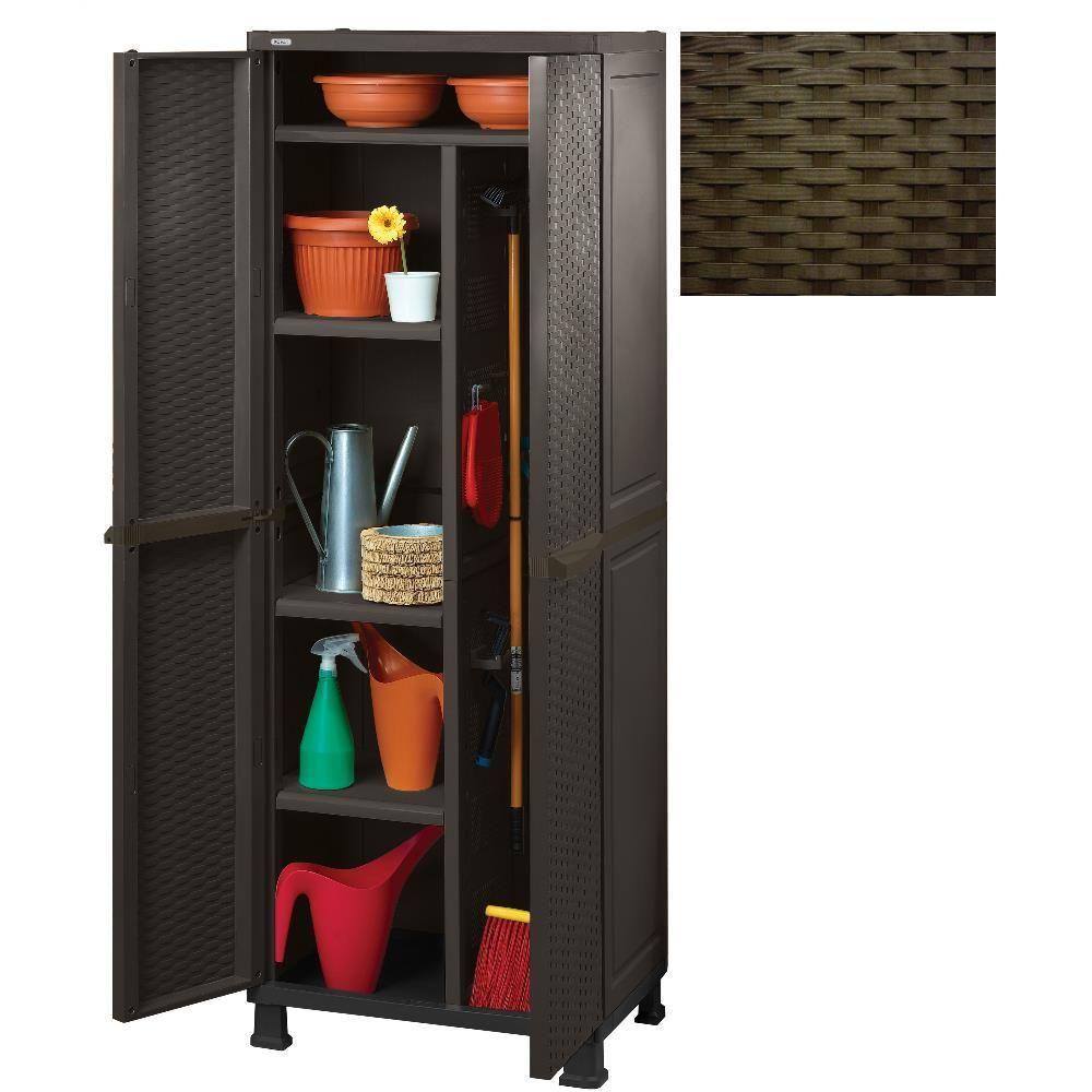 Keter Armoire en résine multi-usage porte-balai 65x45xh184cm marron mobilier de jardin