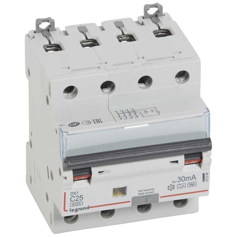 Legrand disjoncteur différentiel legrand dx3 25a courbe c 30ma 4 poles type hpi - vis / vis