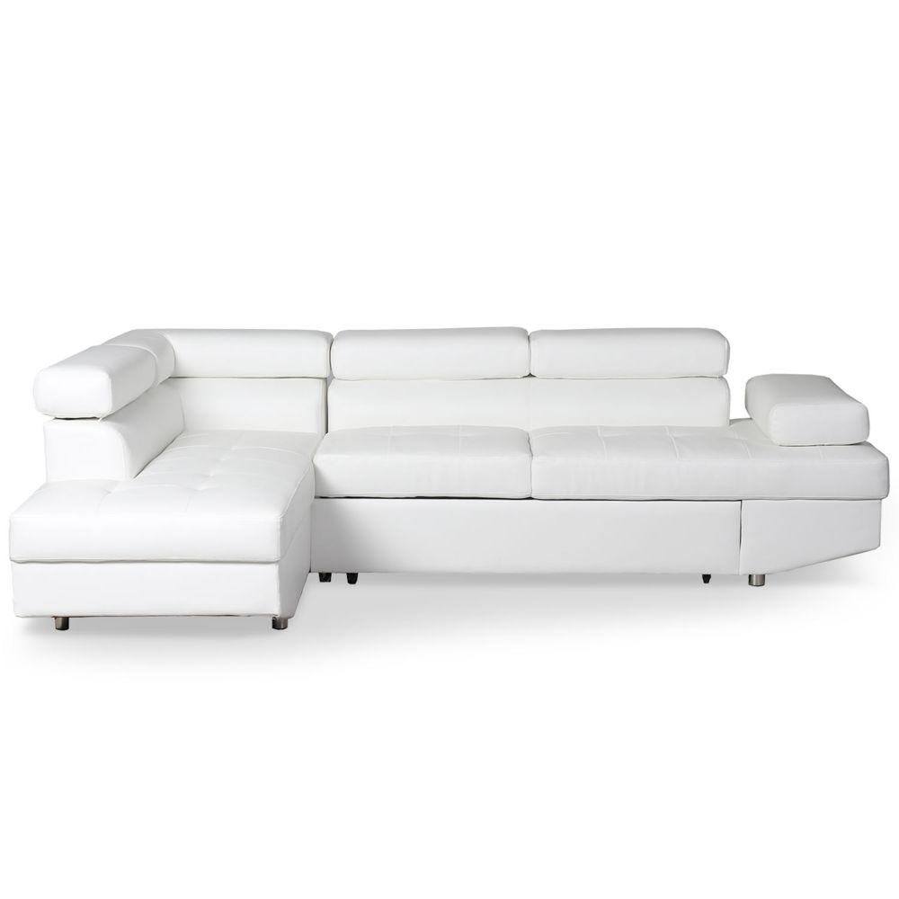MENZZO Canapé d'angle convertible Lido Blanc