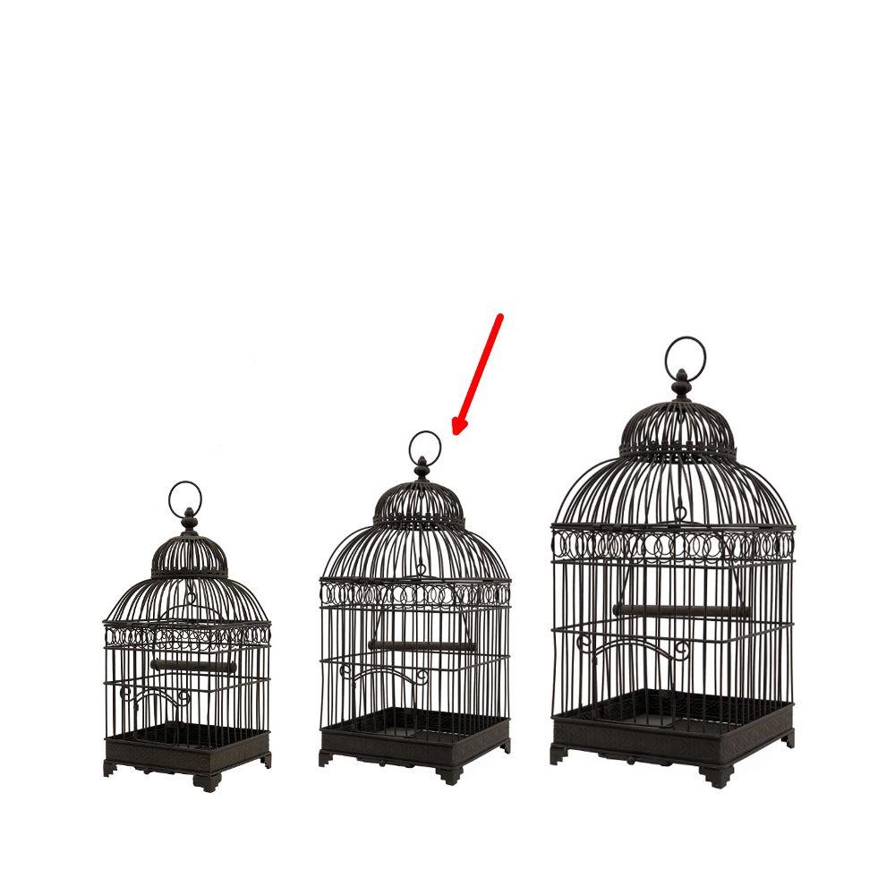L'Originale Deco Style Ancienne Cage à Oiseaux en fer Carré Marron 48 cm x 21 cm x 21 cm