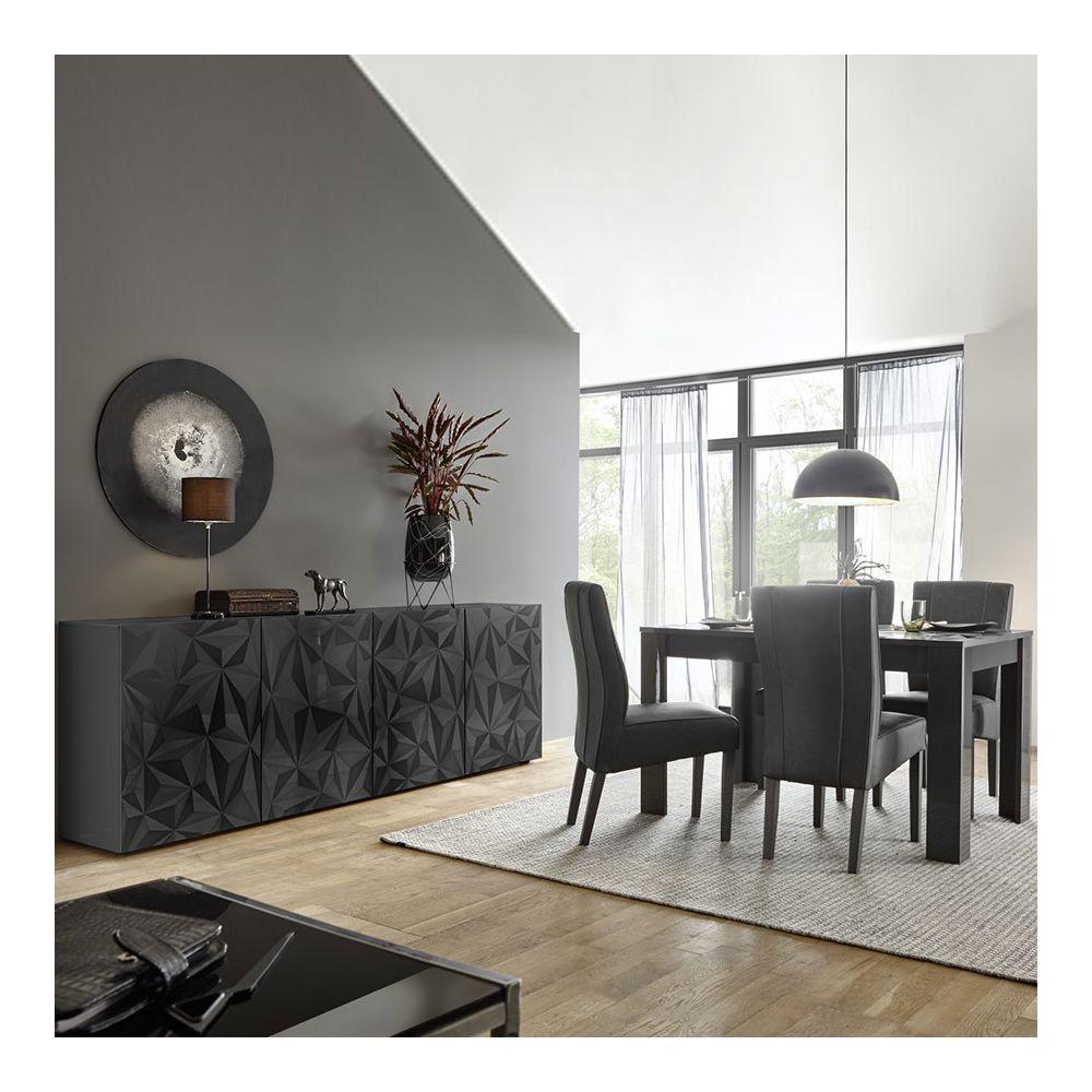 Kasalinea Salle à manger gris laqué design buffet 4 portes + table 180 NINO 2