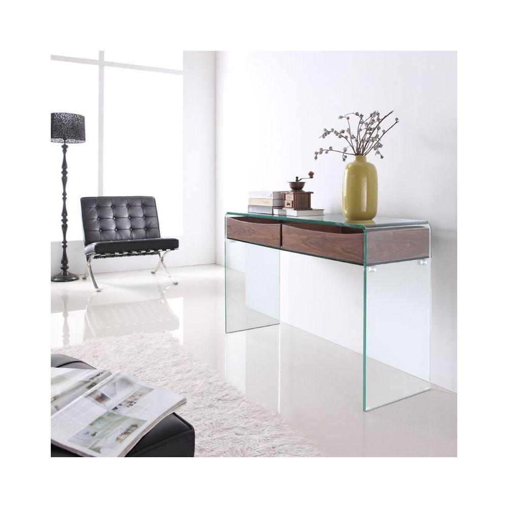 Meubler Design Console design en verre et bois Glasswood