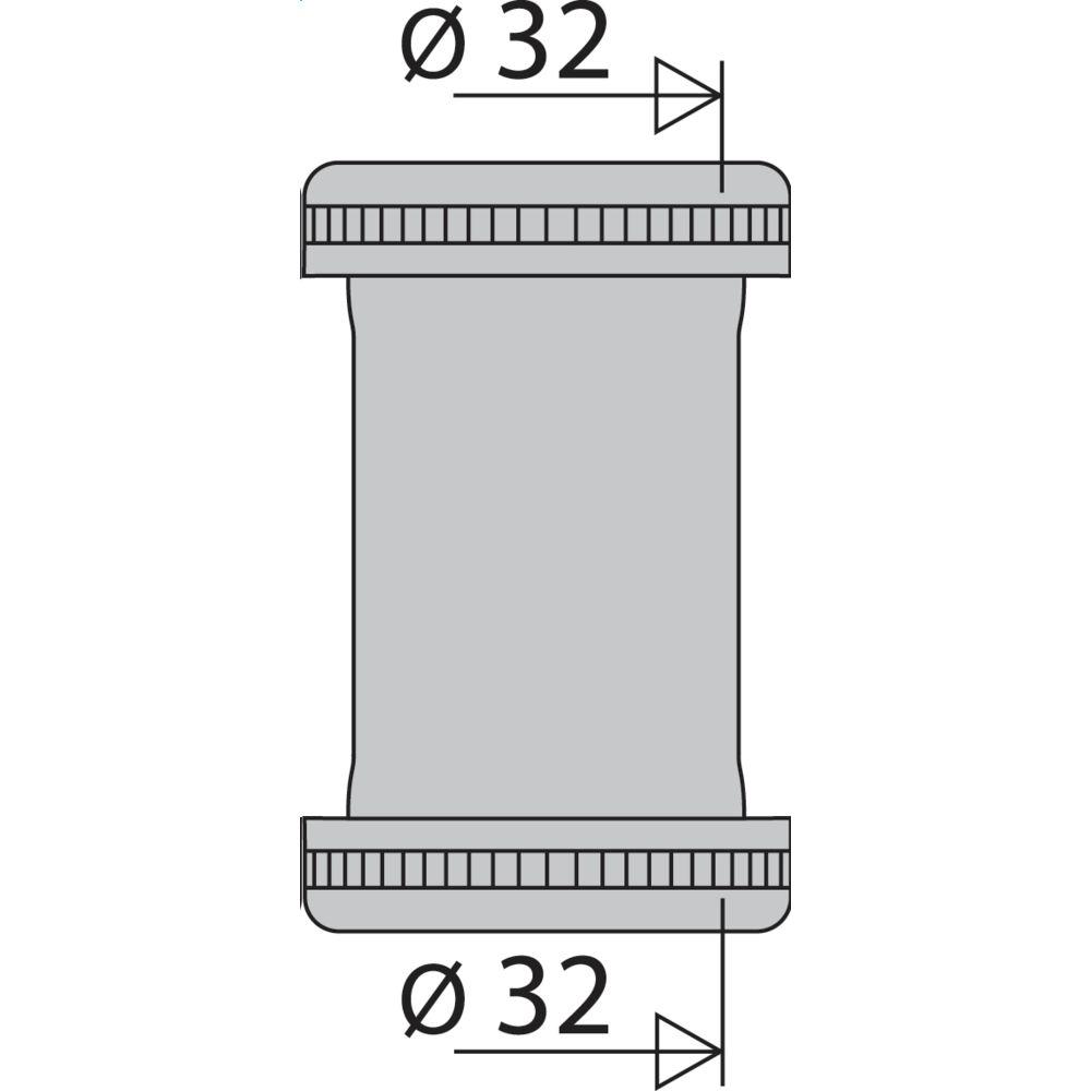 Valentin manchon raccordement - diamètre 32 mm - nickelé mat - valentin 02060000800