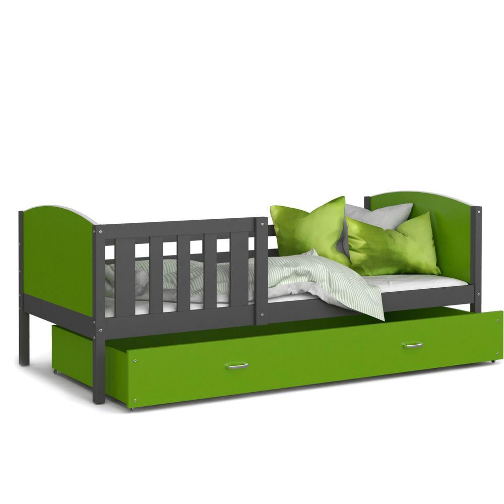 Kids Literie Lit enfant Tomy 90x190 gris vert livré avec tiroir, sommier et matelas en mousse de 7cm offert