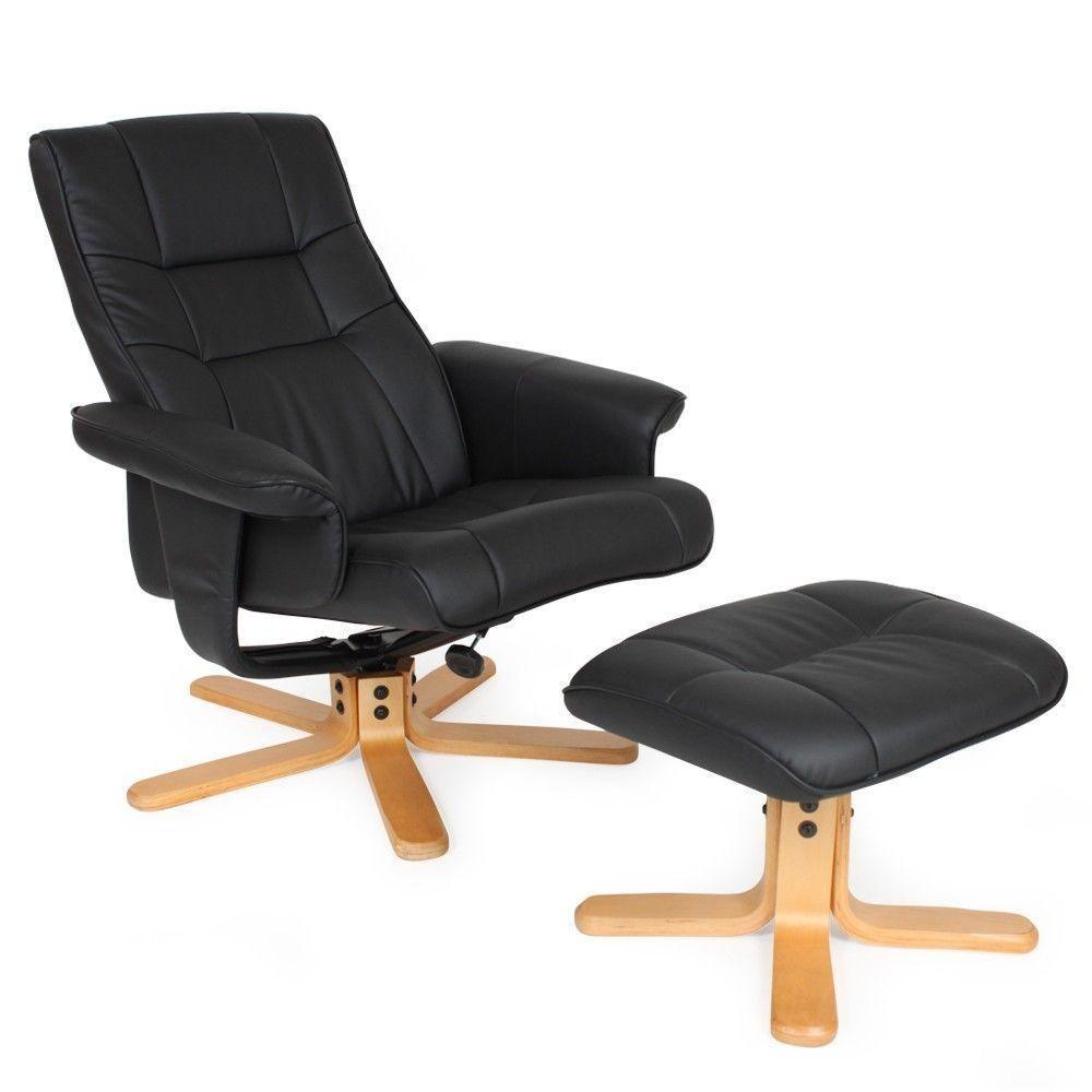 Helloshop26 Fauteuil de relaxation détente tv avec tabouret noir pied beige 1808003