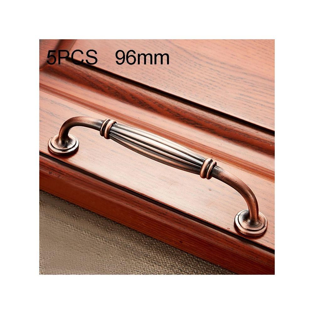 Wewoo Poignée d'armoire 5 PCS 6064-96 de meuble en bois massif poignées bronze rouge
