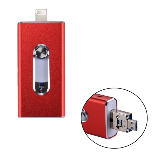 Wewoo -Clé USB rouge pour iPhone et iPad & iPod la plupart des smartphones Android PC 3 en 1 USB 2.0 Lightning 8 broches Micro USB 64 Go Flash Drive, Wewoo  - Clavier