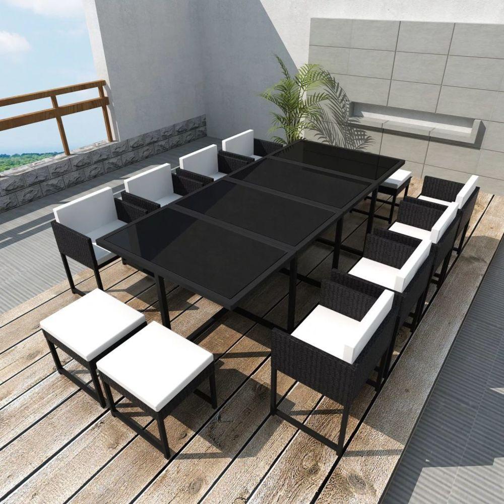Uco UCO Salon de jardin 13 pcs avec coussins Résine tressée Noir