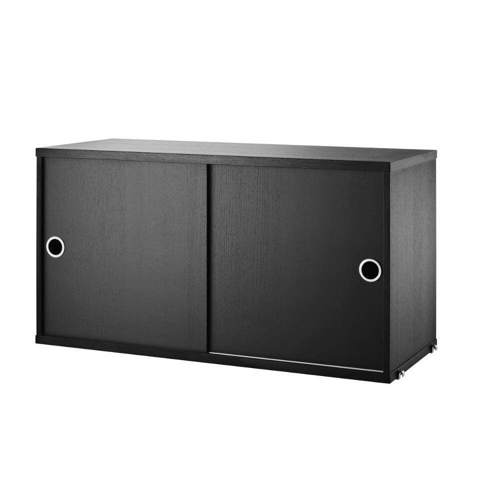 String Armoire à portes coulissantes - Frêne teinté noir - 30 cm