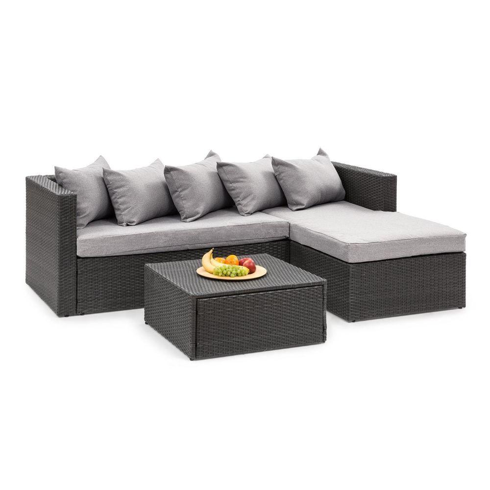 Blumfeldt Blumfeldt Theia Lounge Salon de jardin complet polyrotin noir & gris clair