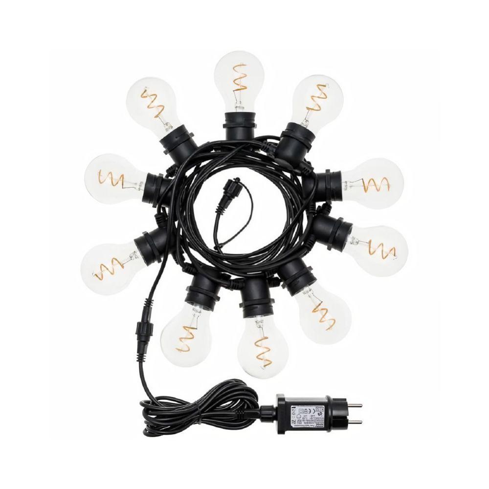 Lotti LOTTI Guirlande lumineuse guinguette - Raccordable - 5 m - 10 ampoules E27 goutte A60 - Ø 60 mm - Led - Blanc chaud