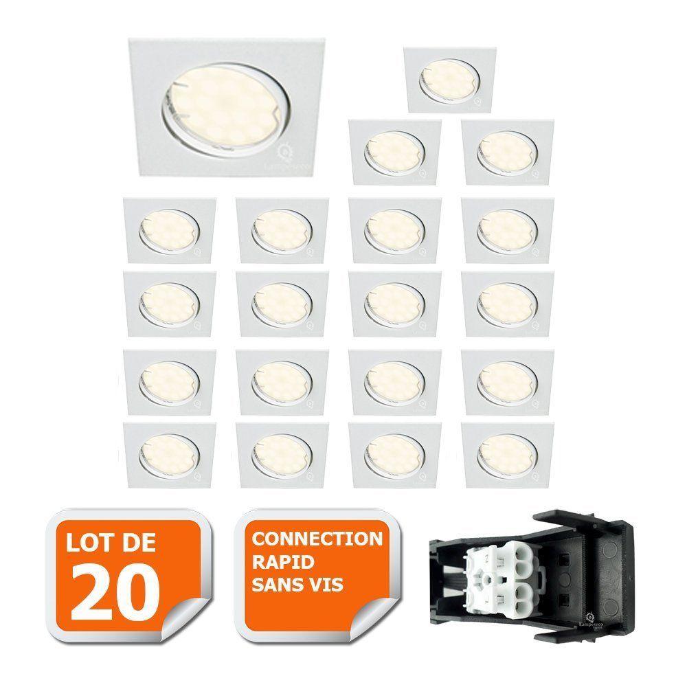 Eurobryte LOT DE 20 SPOT ENCASTRABLE ORIENTABLE LED CARRE GU10 230V eq. 50W BLANC NEUTRE