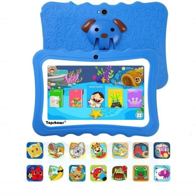 Lamzien - Tablette Tactile Enfants 16Go -TOPSHOWS 7''HD Tablette Éducative Enfants -RAM 1Go -Quad Core -Android -Bleu - Tablette tactile