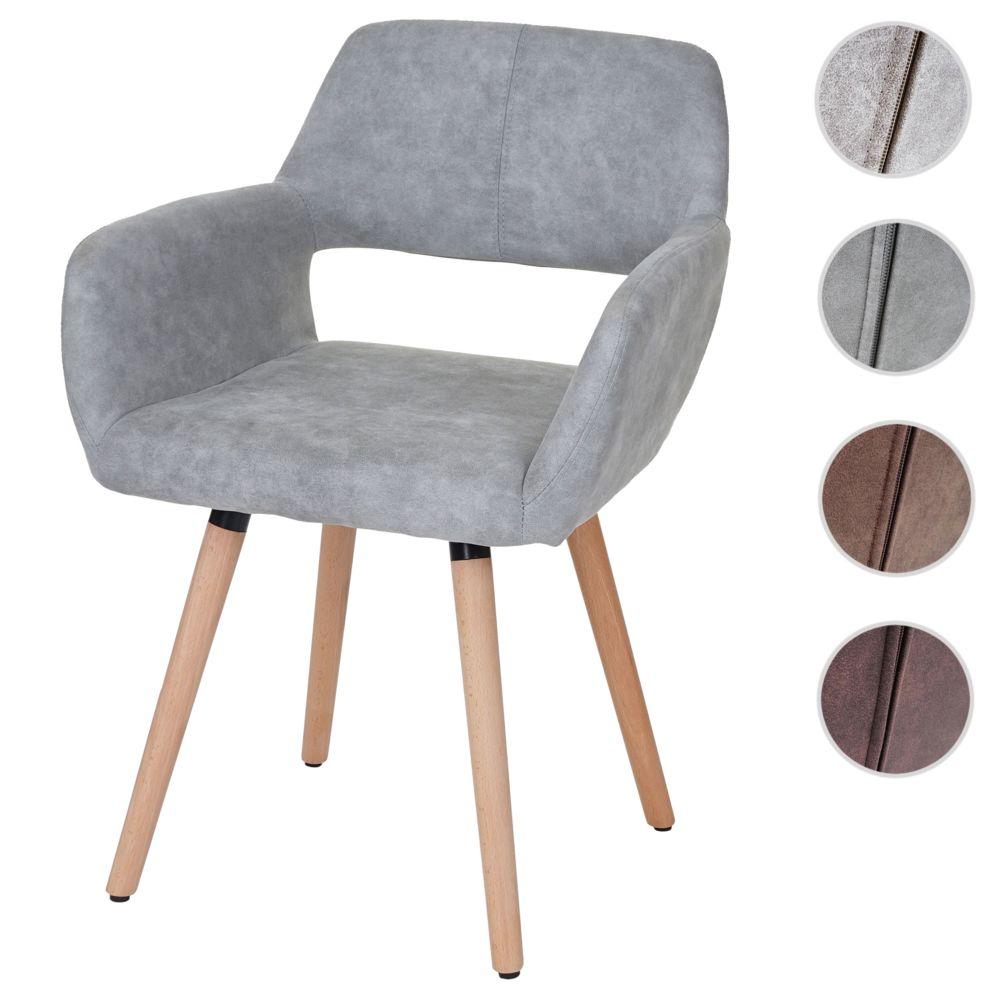 Mendler Chaise de salle à manger HWC-A50 II, fauteuil, design rétro des années 50 ~ tissu, gris béton