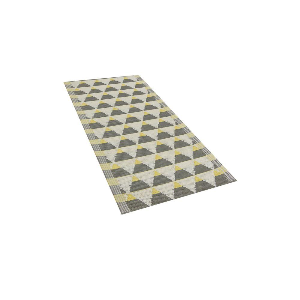 Beliani Beliani Tapis extérieur au motif triangles gris et jaunes 60 x 105 cm HISAR - gris