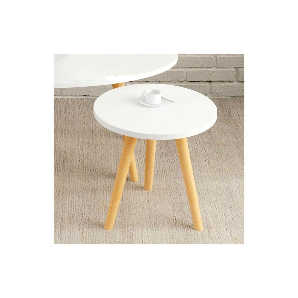 Wewoo Tables de café meubles de en bois massif ovale table basse canapé d'appoint bureau d'assemblage rond blanc 40x40x40cm