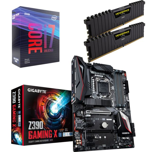 Intel - Core i7 9700K - 3,6/4,9 GHz + Vengeance LPX 16 Go (2 x 8 Go) - DDR4 3200 MHz Cas 16  + Intel Z390 GAMING X - ATX - Kit d'évolution Intel