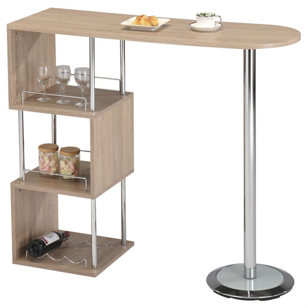 Idimex Table haute de bar VIGANDO mange-debout comptoir avec 3 étagères dont 1 porte-bouteilles en métal chromé et plateau MDF