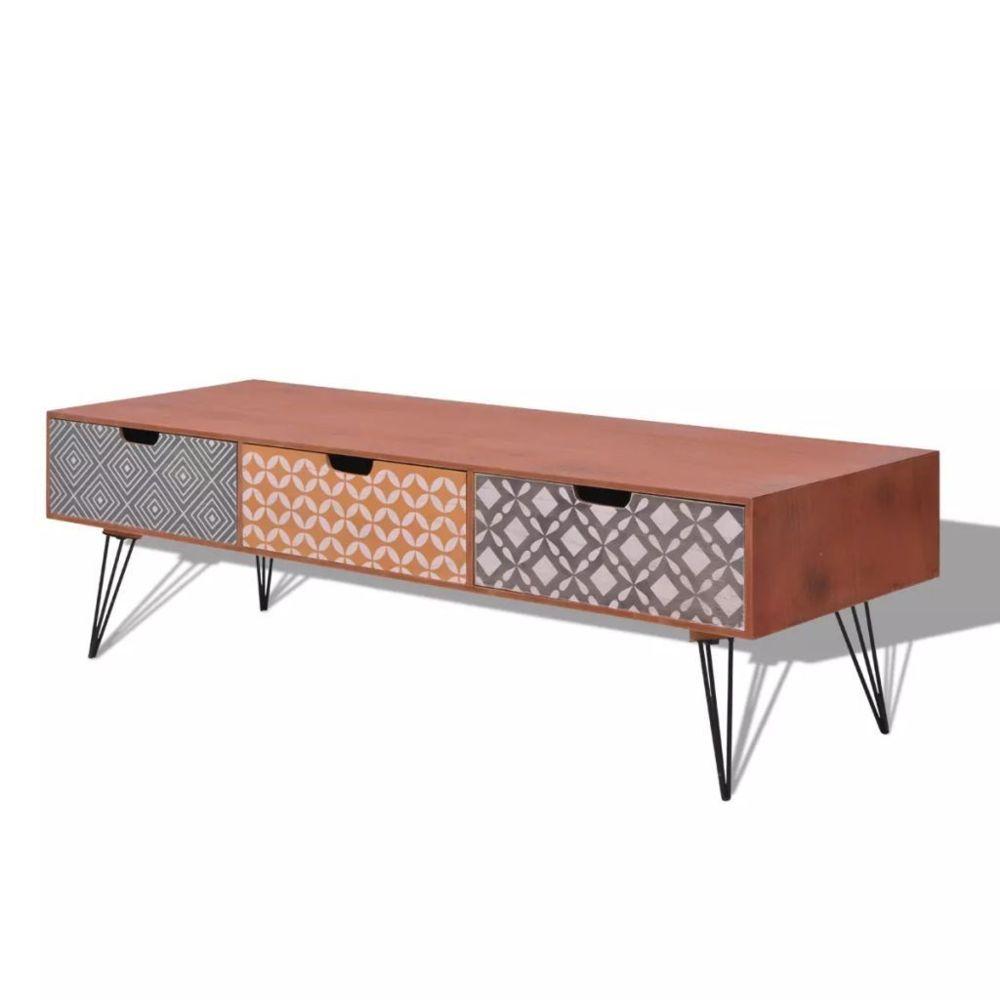 Helloshop26 Meuble télé buffet tv télévision design pratique avec 3 tiroirs 120 cm marron 2502099