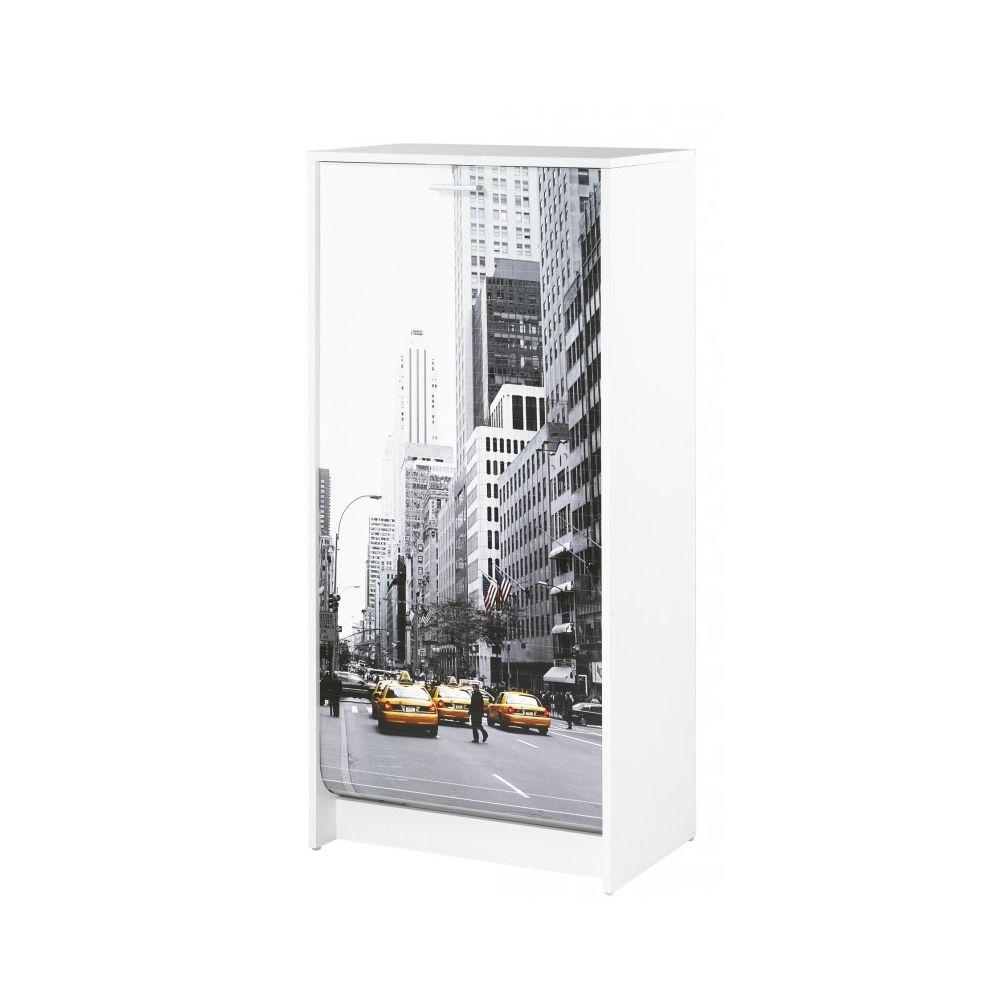 Simmob Meuble à Chaussures Blanc 7 Tablettes - Coloris: Scene New York 504