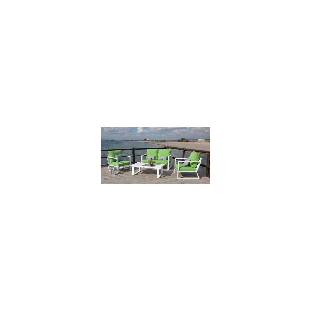 Hevea Hevea Ensemble Salon Sofa De Jardin BOLON 7 en ALUMINIUM BLANC Coussins couleur PISTACHE HEV31468
