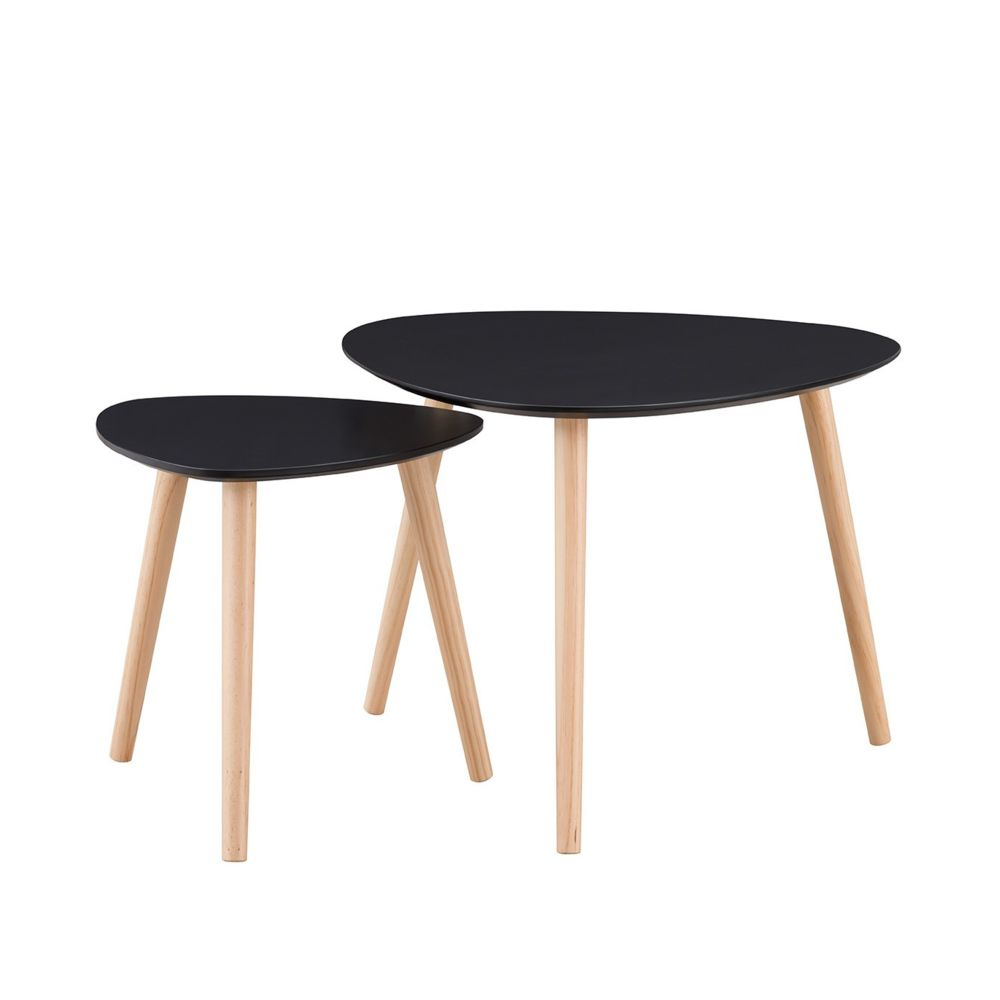 Calicosy Tables gigognes laquées noir mat - Lot de 2