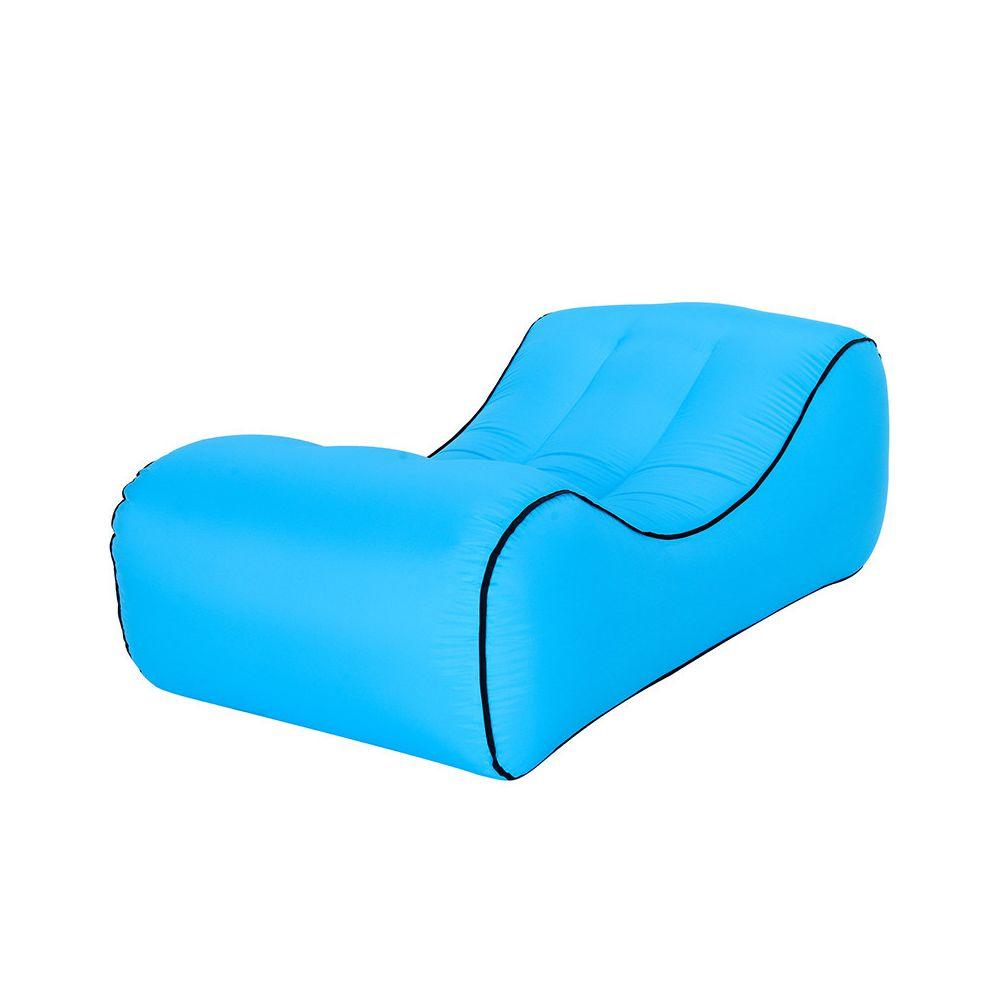 Generic Canapé gonflable canapé air oreiller paresseux imperméable paresseux lit de plage extérieur portatif - Bleu ciel
