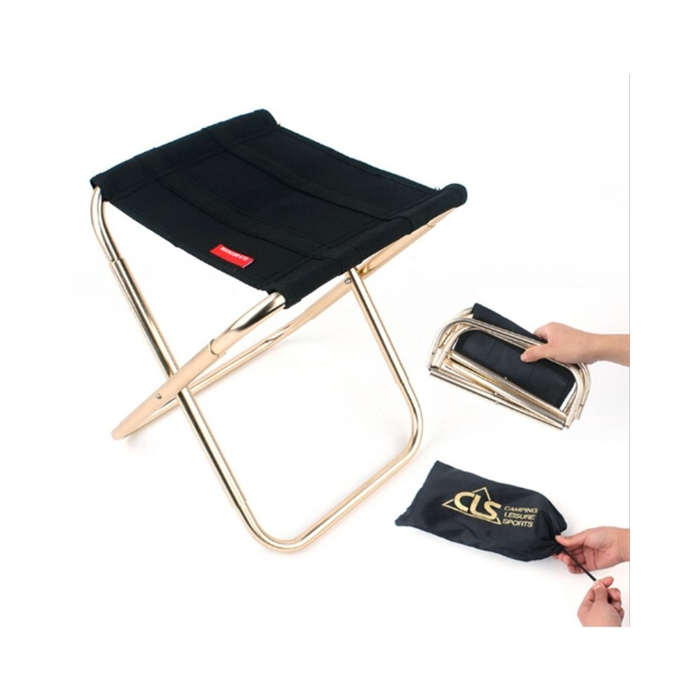 Wewoo CLS Outdoor Portable Auminum Alliage noir Pêche Barbecue Pliant Tabouret, Taille: 24.8 * 22.5 * 27 cm