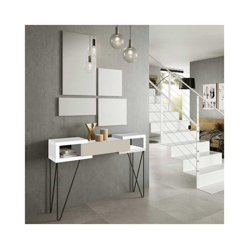 Tousmesmeubles Console + miroir Laque blanc/crème - SOLDIA