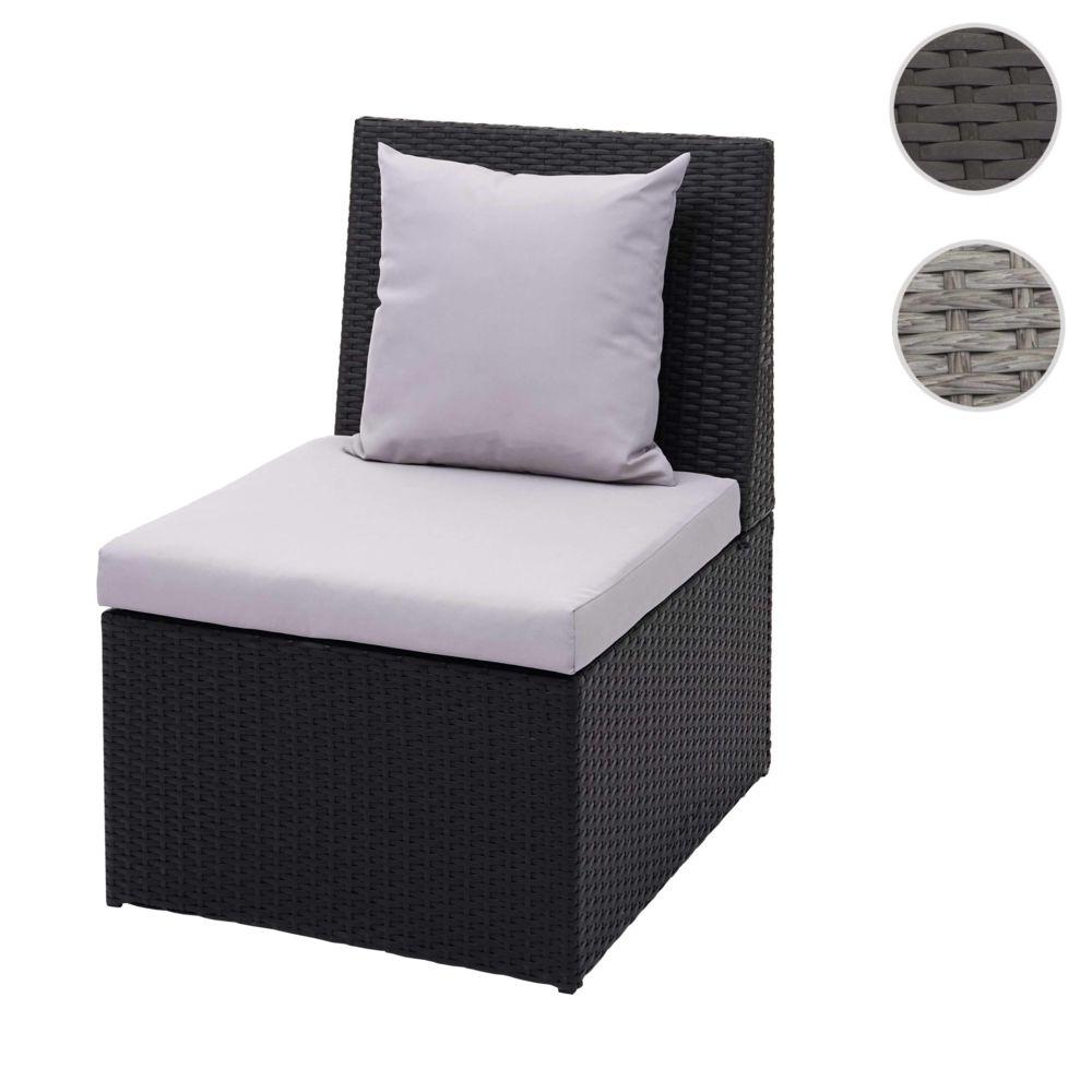 Mendler Fauteuil en polyrotin HWC-G16, chaise de jardin, gastronomie ~ noir, coussin gris clair